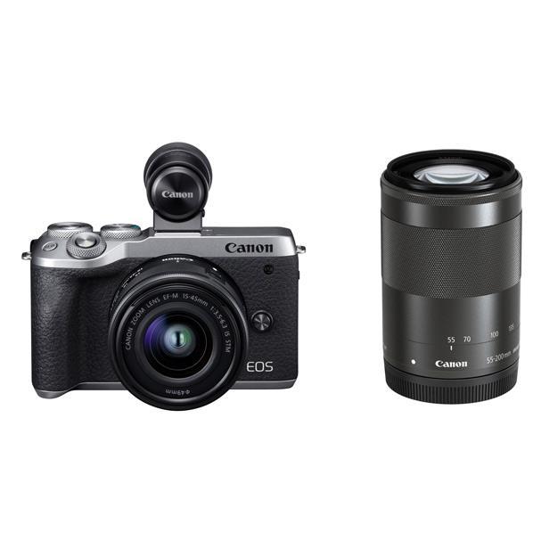 キヤノン デジタル一眼カメラ・ダブルズームEVFキット EOS M6 Mark II シルバー EOSM6MK2SLWZEVFK [EOSM6MK2SLWZEVFK]【RNH】