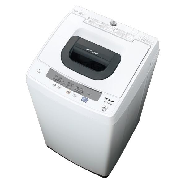 【あんしん延長保証対象】高濃度洗剤液で洗う「2ステップウォッシュ」。 日立 5.0kg全自動洗濯機 ピュアホワイト NW-50E W [NW50EW]【RNH】