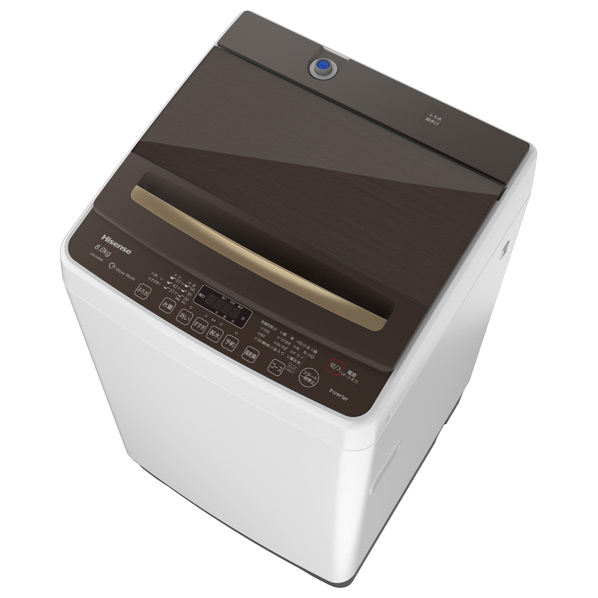 【あんしん延長保証対象】家族みんなのまとめ洗いも省エネ スタイリッシュハイパワーな、8.0kg! ハイセンス 8.0kg全自動洗濯機 ホワイト/ブラウン HW-DG80A [HWDG80A]【RNH】