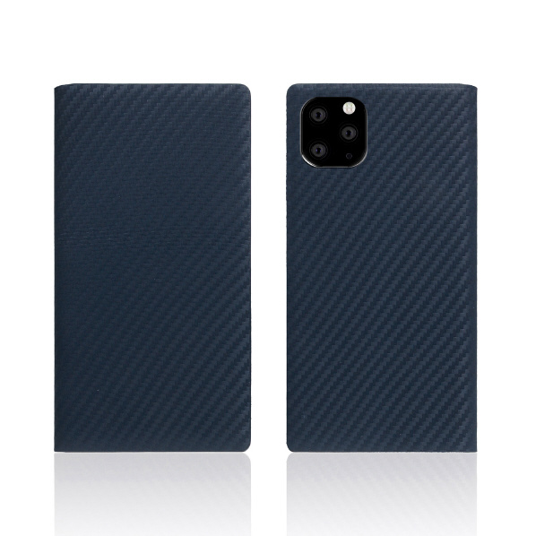 SLG Design iPhone 11 Pro用手帳型ケース carbon leather case ネイビー SD17859I58R [SD17859I58R]