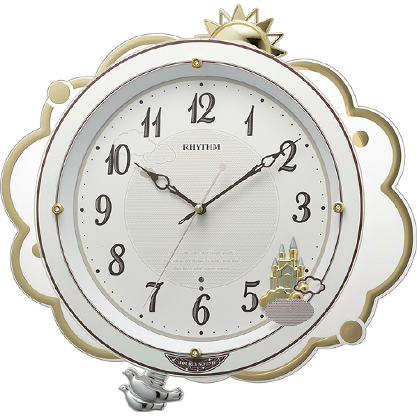 リズム時計 ファンタジースカイM410 電波掛時計 ホワイト 8MN410SR03 [8MN410SR03]