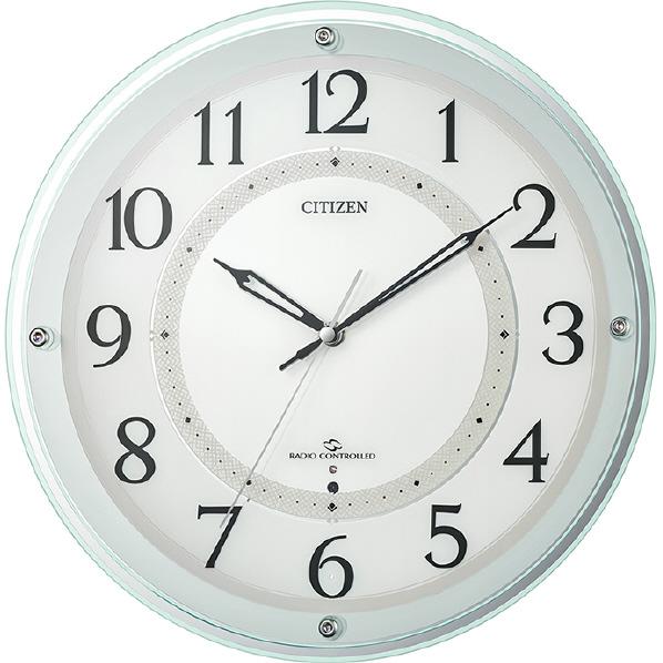 リズム時計電波掛時計CITIZEN(シチズン)緑透明色4MY859-005