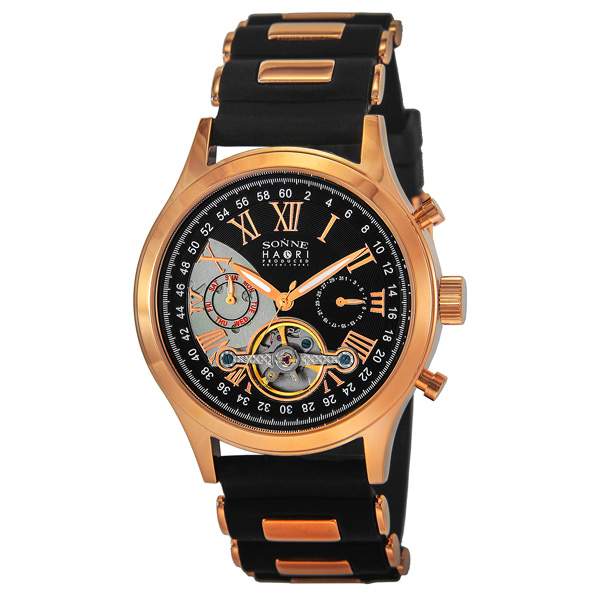 【オンラインショップ】 ゾンネ 腕時計 H016 ブラック×ピンクゴールド H016PG-BK [H016PGBK]【SPPS】, アドショップ 0e8f5fa4