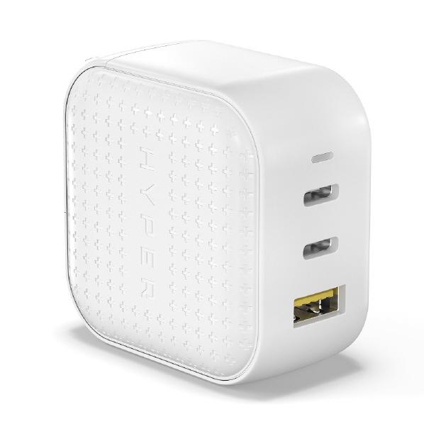 急速充電可能な3つのポート 2×USB-Cポート PD3.0対応 1×USB-A Hyper HyperJuice GaN HP-HJ265WH 卓出 USB-C ブランド品 ホワイト ACアダプタ 66W HPHJ265WH