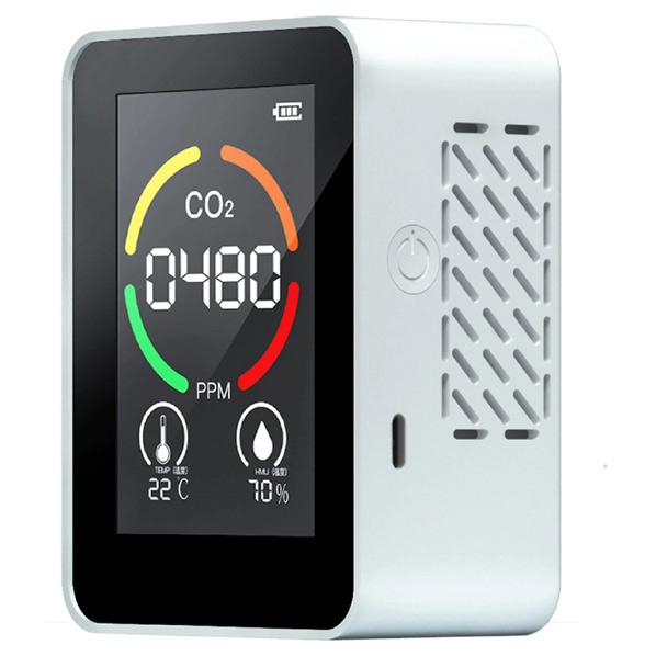 NEW ARRIVAL 送料0円 色 数値でCO2濃度がわかる 温度 湿度も計測します オーストリッチ エアモニター 07614GM CO2濃度測定機 ホワイト