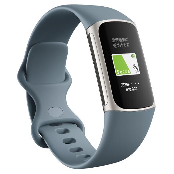 先進的な健康管理トラッカー。 Fitbit 【Suica対応】GPS搭載フィットネストラッカー L/Sサイズ Charge5 スチールブルー/プラチナ ステンレススチール FB421SRBU-FRCJK [FB421SRBUFRCJK]