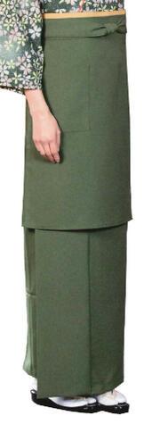 お取り寄せ商品和風スカート抹茶 M・L寸[飲食店ユニフォーム 和風ユニフォーム 割烹 料亭 和食店 着物風]