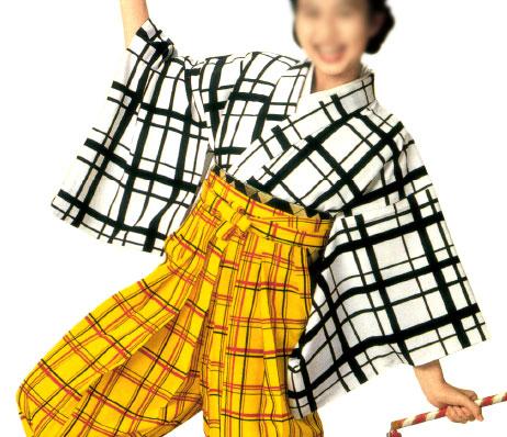 手古舞にもオススメな袴下着物です 袴下着物 格子柄 男単衣 無料サンプルOK 新作 人気