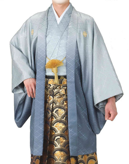 ボカシ綸子羽織と袴下着物セット(男袷仕立)4・5・6・7号