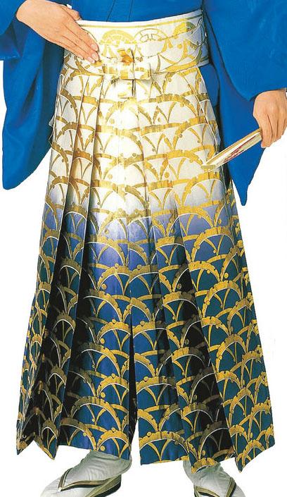 踊り用 ボカシ金襴袴(うまのり仕立)つゆ芝 S・M・L寸