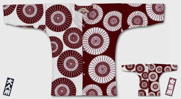 <メール便対応>東京江戸一鯉口シャツ【特選手拭‐蛇の目ちらし】大人用【小・中・大】女性用【小・中・大】[鯉口 シャツ こいくち 祭 衣装 ダボ 居酒屋 ユニフォーム 男性 女性 えどいち]