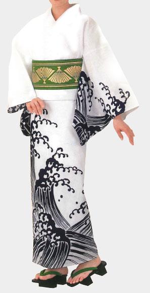 イベント用 仕立上がりの絵羽浴衣です 国際ブランド 仕立上がり絵羽ゆかた 紺荒波 今季も再入荷 女物