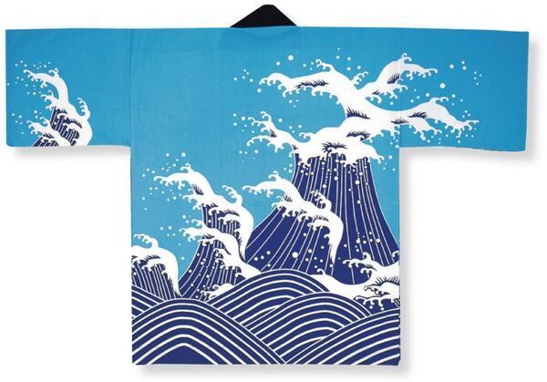 顔料染法被【波】ブルー大人フリーサイズ