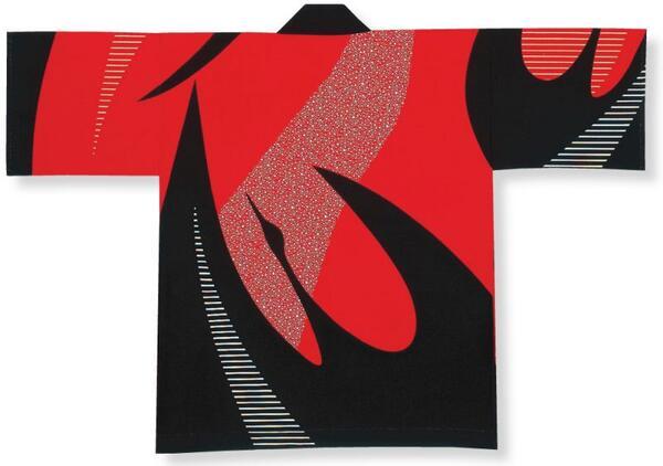 顔料染法被【鶴】赤・黒大人フリーサイズ