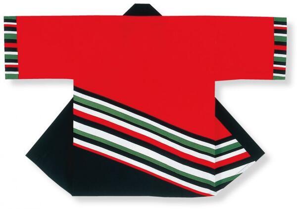 顔料染法被【斜線】赤・黒大人フリーサイズ