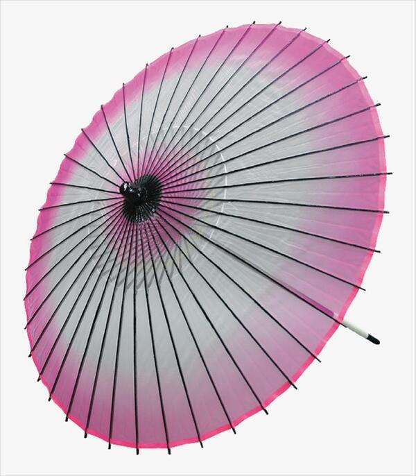稽古用 絹傘 ボカシ(二本継ぎ)ピンク[ 傘 和傘 日舞 日本舞踊 踊り 舞台用 工芸品 小道具 w19350-2 ]
