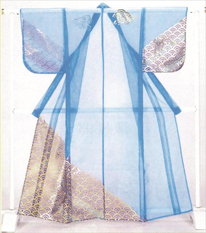 被衣(かつぎ)水色 箔加工 かつぎ仕立て/掛け仕立て[ かづき 衣かづき 平安 日舞 祭り 舞台用 小道具 Ts7807 ]