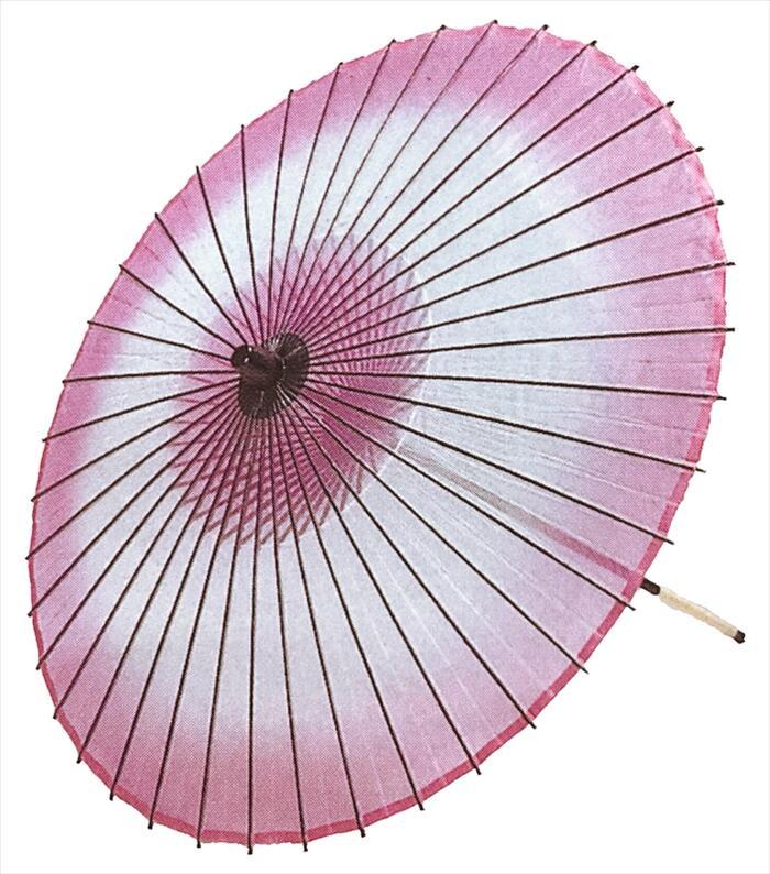 絹傘 ボカシ(二本継ぎ)赤紫[ 傘 和傘 舞傘 日舞 日本舞踊 踊り 舞台用 工芸品 小道具 s3301 ]
