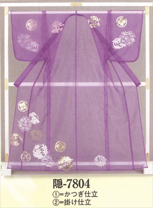 被衣(かつぎ)紫 箔加工 かつぎ仕立て/掛け仕立て[ かづき 衣かづき 平安 日舞 祭り 舞台用 小道具 Ts7804 ]