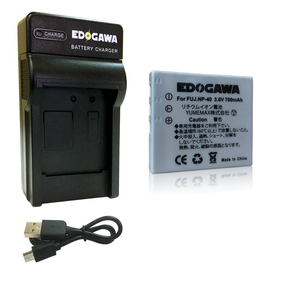 定形外送料無料 6ヵ月保証 品質保証 宅配便 佐川 500円~ EDOGAWA USB充電器セット FUJIFILM 2020 ED-BAT+USB NP-40対応互換バッテリー フジフィルム