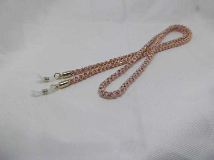 【純国産絹糸100%】グラスコード ピンク シルク 正絹 メガネ めがね 眼鏡 紐 江戸 東京 伝統 手作り ギフト【職人手組み 組紐 くみひも】