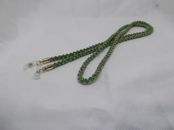【純国産絹糸100%】グラスコード グリーン シルク 正絹 メガネ めがね 眼鏡 紐 江戸 東京 伝統 手作り ギフト【職人手組み 組紐 くみひも】
