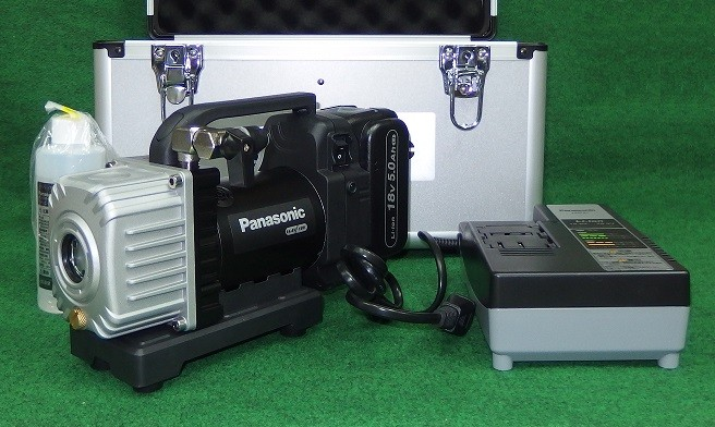 パナソニック EZ46A3LJ1G-B 充電式デュアル真空ポンプ 本体+ケ-ス+ゲ-ジ付バルブ+ホース付 18V電池セット品 新品