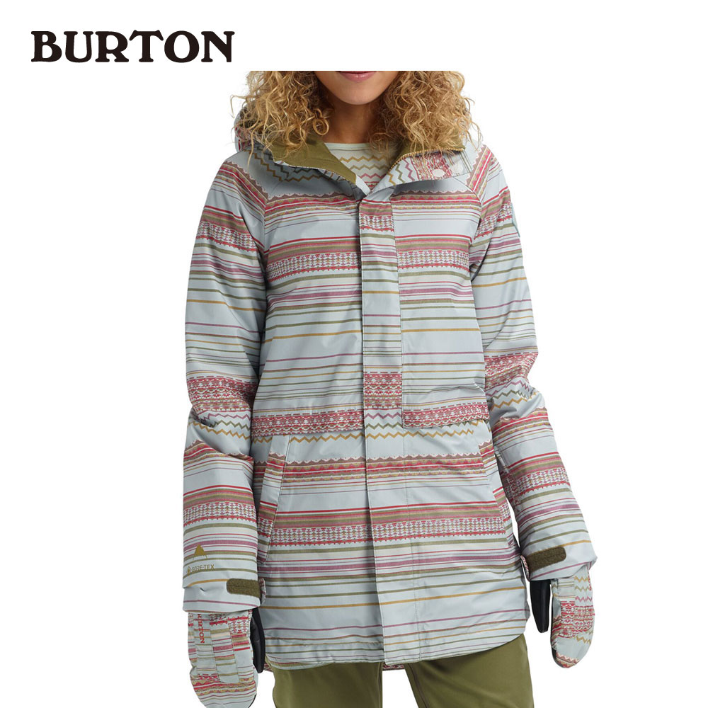 バートン Women's Burton GORE-TEX Kaylo Shell Jacket 205481 Aqua Gray Revel Stripe