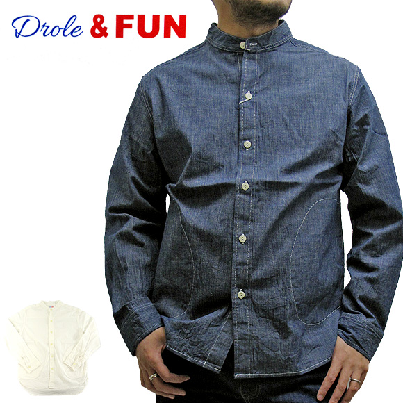 Drole&FUN ドロールアンドファン DF-S-001 バンドカラー ポケット付きストレッチシャツ BAND COLLAR POCKET STRECH SHIRT メンズ【メール便不可】02P05Apr14M