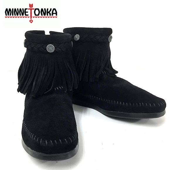 【送料無料】MINNETONKA ミネトンカ ハイトップ バックジップ ショートブーツ HI TOP BACK ZIP BOOT BLACK SUEDE フリンジ スエード モカシン
