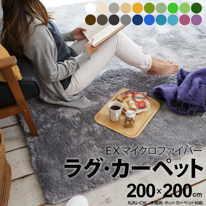 【送料無料】エクストラ マイクロファイバー ラグ マット カーペット 200×200cm 正方形 ウォッシャブル