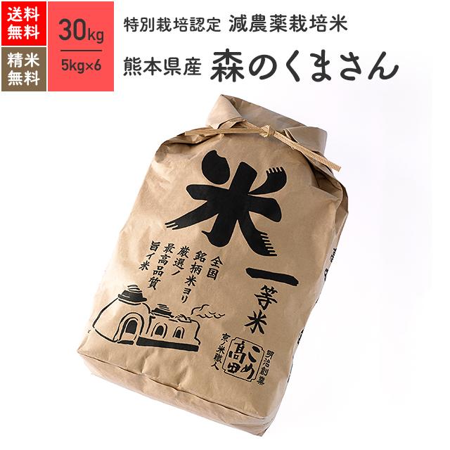 熊本県産 森のくまさん 特別栽培米 30kg(5kg×6袋)令和元年産米 お米 分つき米 玄米 送料無料