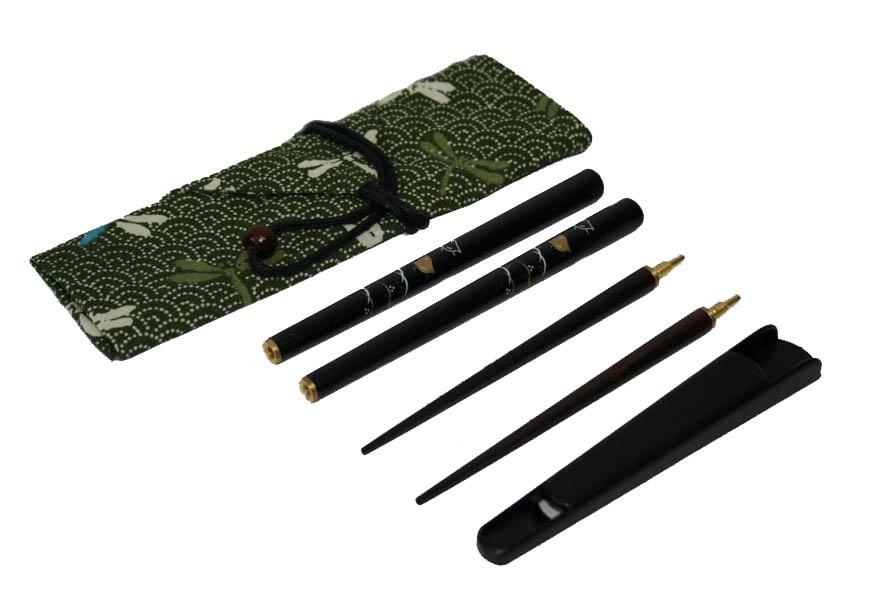 送料無料 郵送で マイ箸 がセットでお買い得 マイ箸セットA お見舞い 波千鳥黒 超激安特価 つなぎ箸 黒箸袋 001-132 箸キャップ