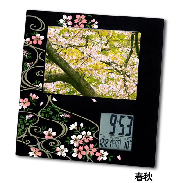Lacquer work photodigital clock spring and summer 001-2394 (gift )fs2gm for lacquerware, souvenir, souvenir, foreign countries)