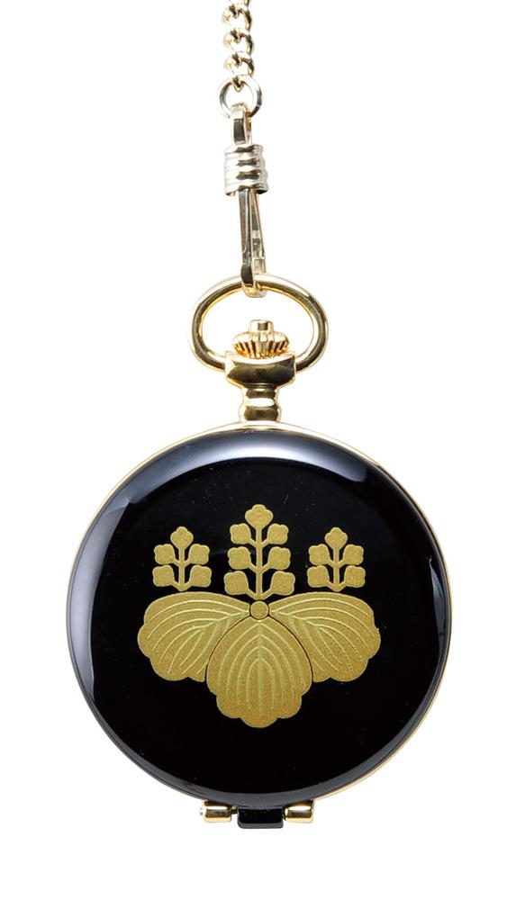 蒔絵 懐中時計 家紋(五七の桐) 桐箱入り(伝統工芸 本金蒔絵 時計 漆器 和風)