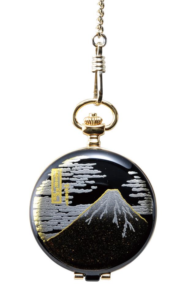 蒔絵 懐中時計 富士山 桐箱入り(伝統工芸 本金蒔絵 時計 漆器 和風)
