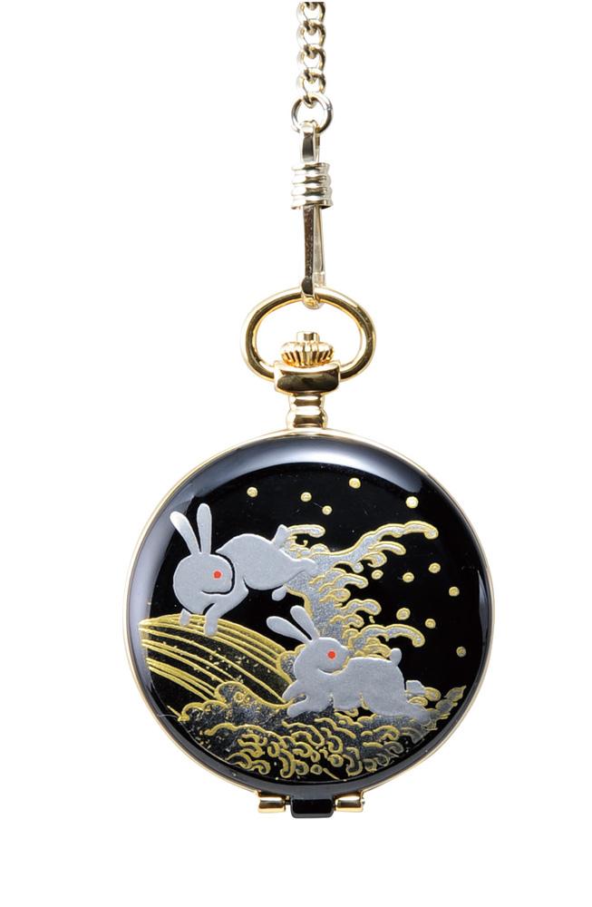 蒔絵 懐中時計 白兎 桐箱入り(伝統工芸 本金蒔絵 時計 漆器 和風)