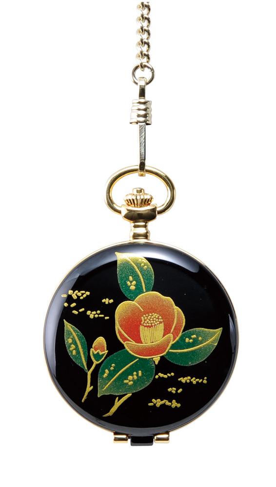 蒔絵 懐中時計 椿 桐箱入り(伝統工芸 本金蒔絵 時計 漆器 和風)