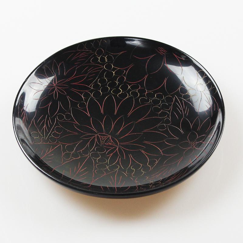 木製 銘々皿 菊彫り φ15cm(盛皿) M-113BH