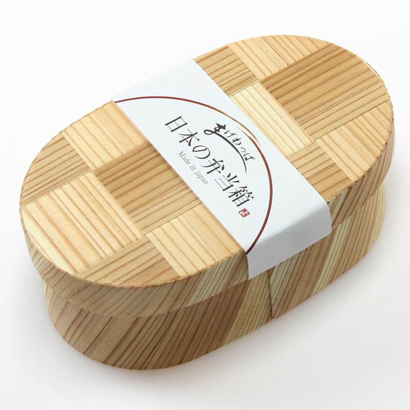 【送料無料】日本の弁当箱 網代小判 490cc(曲げわっぱ わっぱ弁当 木製弁当箱 和風 日本製)