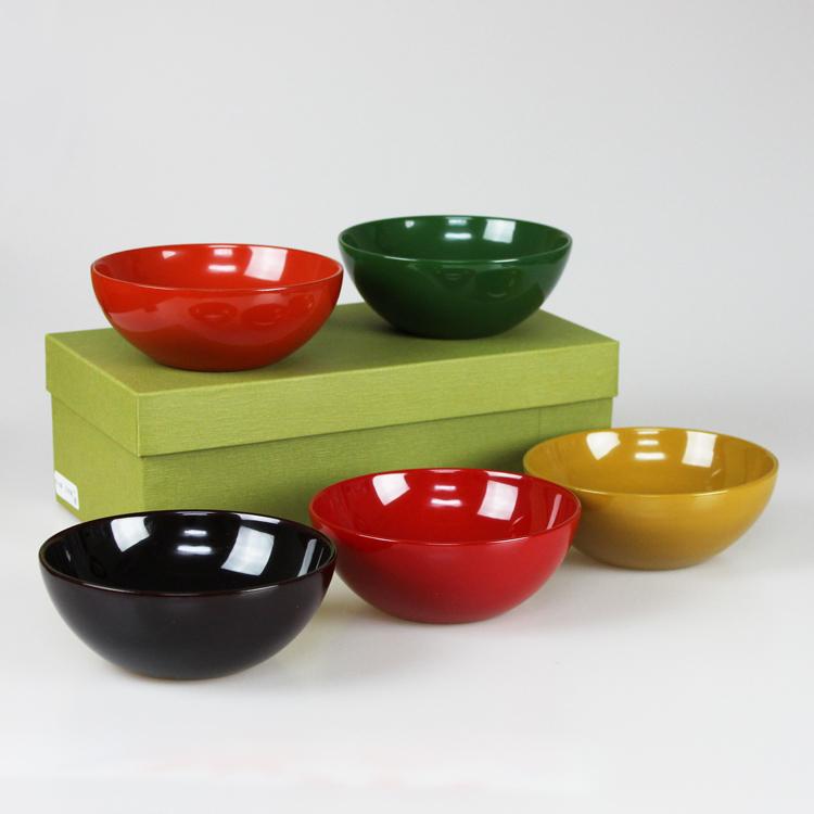 平小鉢(フリーカップ) 木製 5色揃え うるし塗 漆塗り 山中漆器 小原文平(多用椀 丼 汁椀 盛皿)