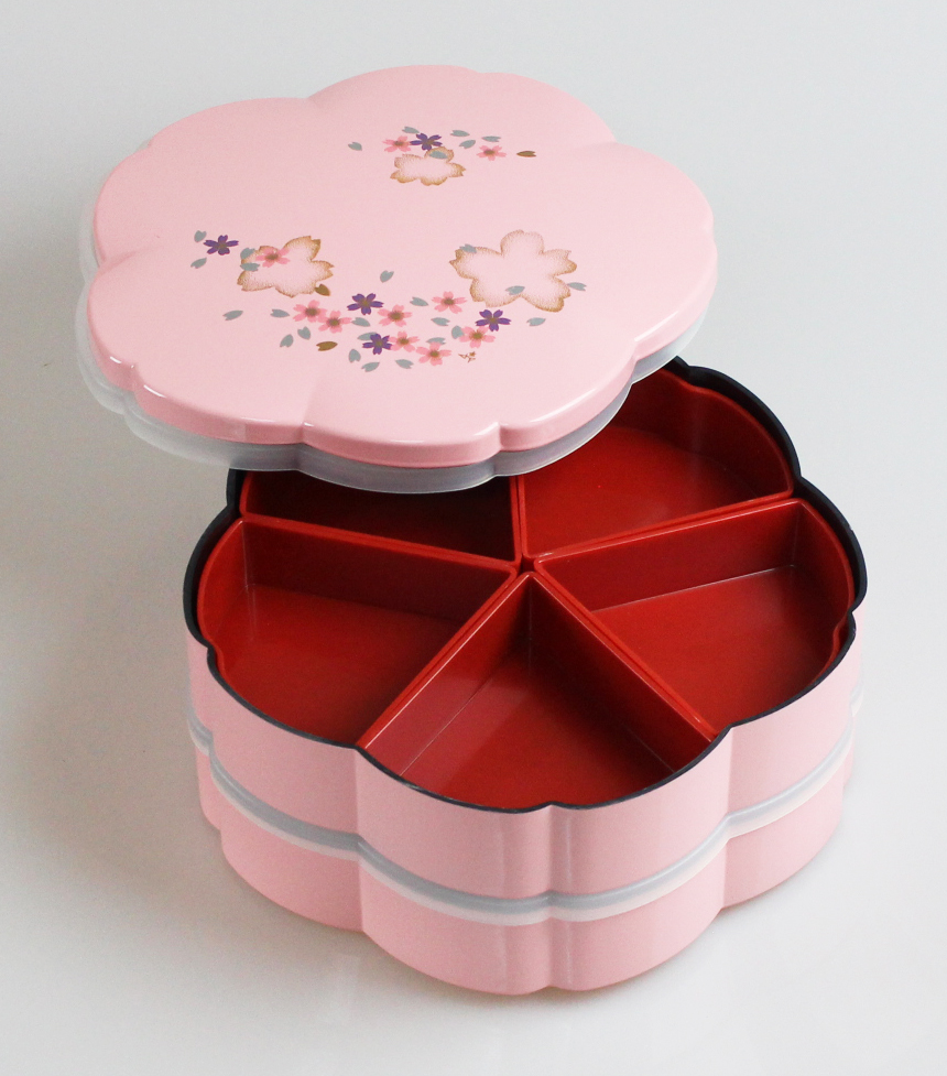 루 형 핑크 사쿠라 2 단 전채 요리 찬 합, 분할, 수액 채취 된 001-289, han (자동차, 찬 합 도시락 상자, 런치 박스, 멋쟁이, 칠기, 하나미, 운동 회, 설날, 세 고, 귀여운)