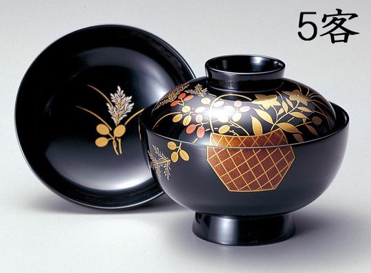 【送料無料】越前漆器 吸物椀 黒 花籠 5客(木製 漆塗 うるし塗) 900603 802203 (松屋漆器)