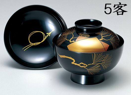 【送料無料】越前漆器 吸物椀 黒 色紙老松 5客(木製 漆塗 うるし塗) 900701 802303 (松屋漆器)