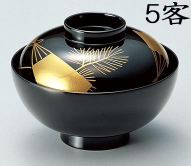 【送料無料】越前漆器 吸物椀 黒 扇松 5客(木質樹脂 漆塗 うるし塗) 900806 802601 (松屋漆器)