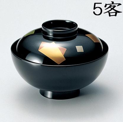 【送料無料】越前漆器 吸物椀 黒 色紙 5客(木質樹脂 漆塗 うるし塗) 900906 802705 (松屋漆器)