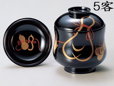 【送料無料】越前漆器 小吸物椀 黒 ひょうたん 5客(木製 漆塗 うるし塗) 901201 803001 (松屋漆器)