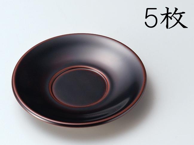 【送料無料】越前漆器 茶托 溜 5枚 (木製 漆塗 うるし塗) 905504 807002 (松屋漆器)