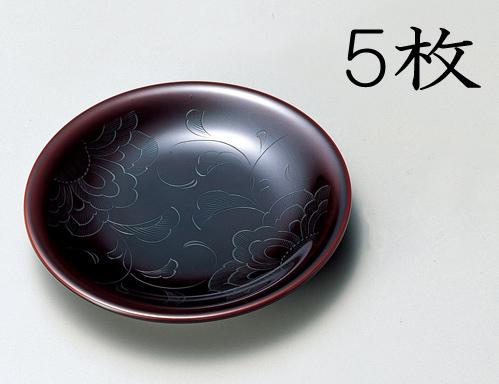 【送料無料】越前漆器 銘々皿 花彫り 溜 5枚(木製、うるし塗、漆塗) 905901 807404