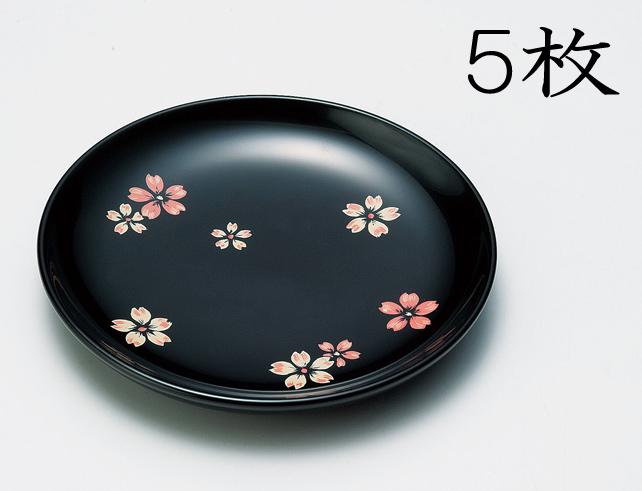 【送料無料】越前漆器 銘々皿 桜ちらし 黒 5枚(木製、うるし塗、漆塗) 905904 807501
